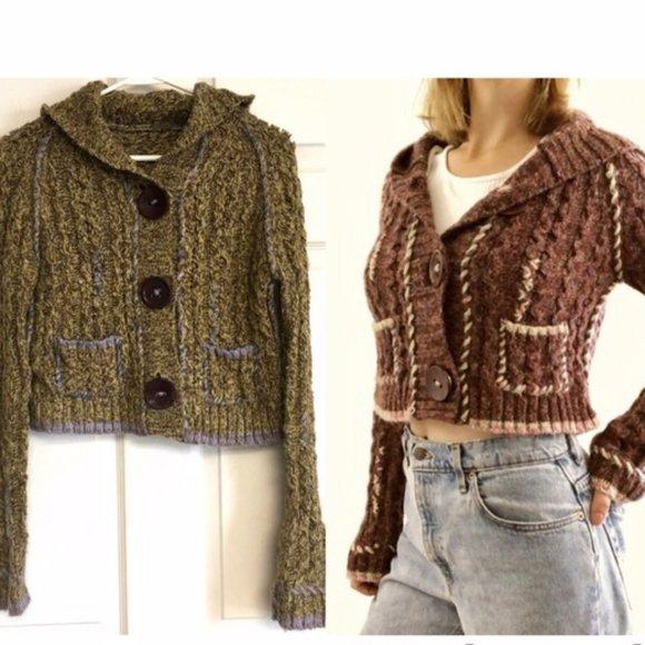 FREE PEOPLE Knit Crop Hoodie Cardigan Sweater